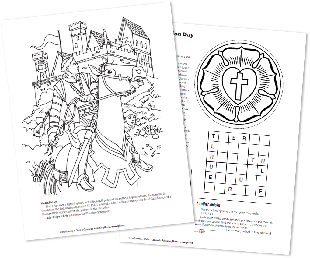 Catechism luthers seal coloring sheet coloring pages for Luther s seal coloring page